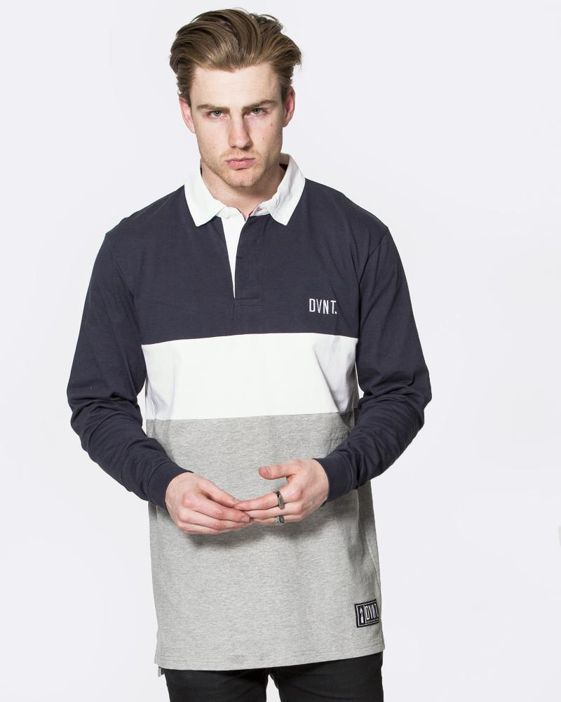 RUGBY JERSEY - NAVY/WHITE/GREY