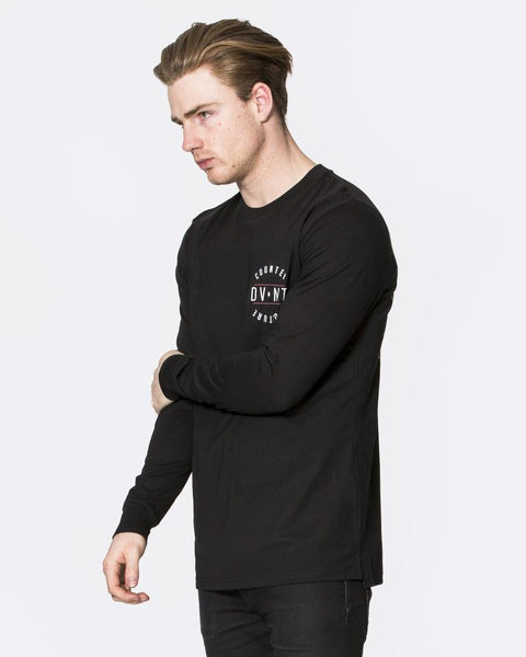 C.C BADGE LONG SLEEVE TEE - BLACK