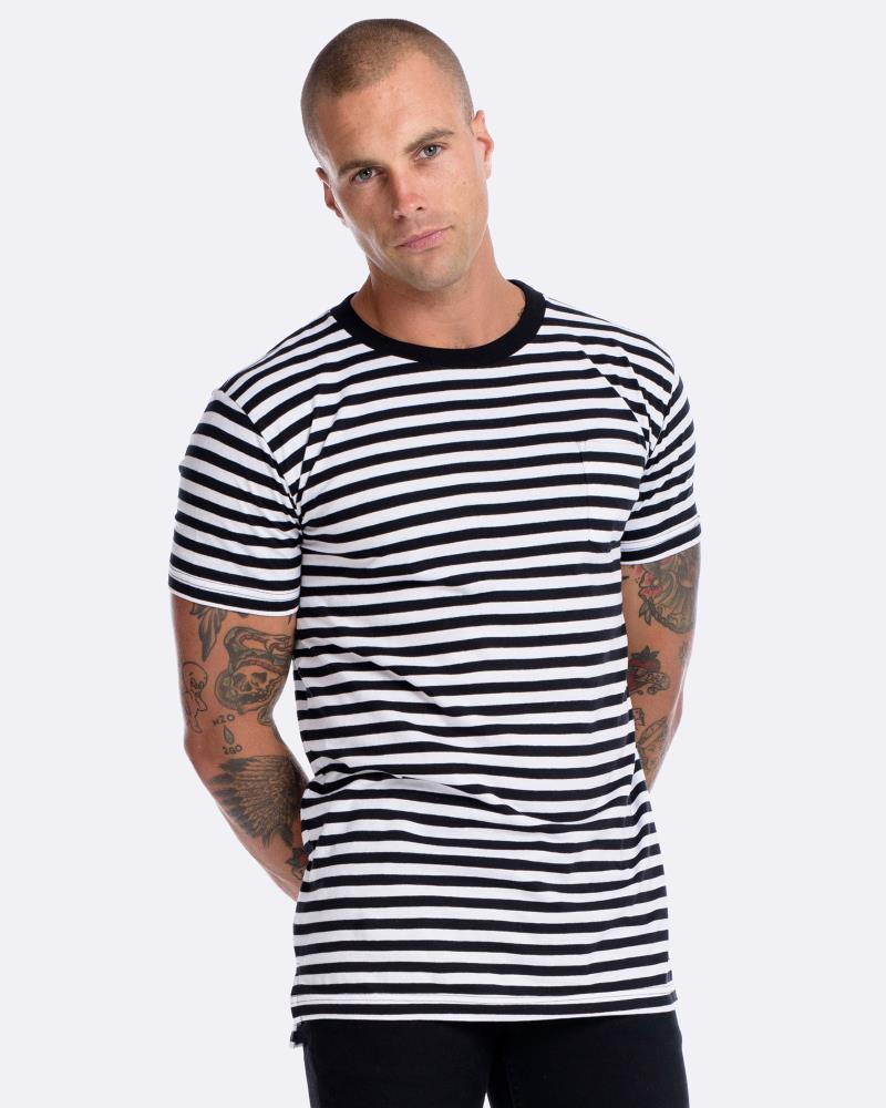 Stripe Pocket Tee - Black/White