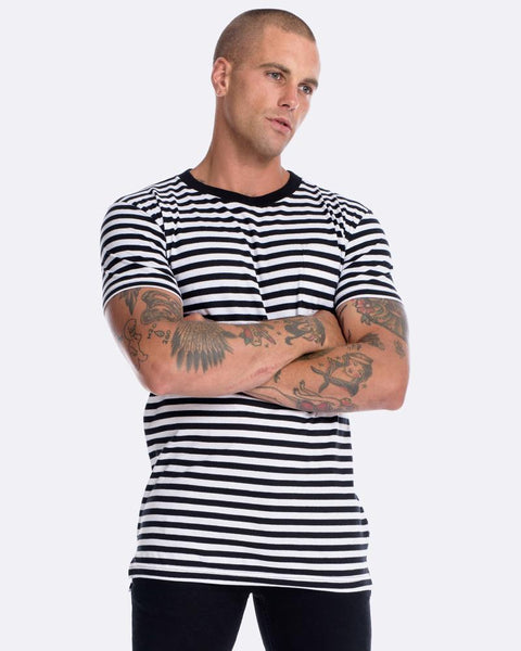 MENS STRIPE POCKET TEE BLACK/WHITE