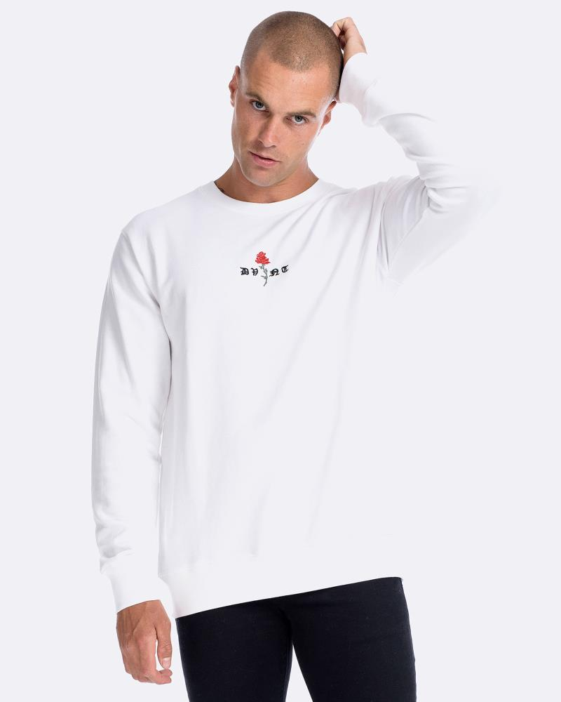BARBED ROSE CREWNECK - WHITE