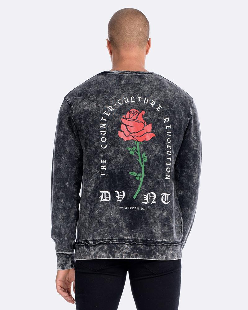 BARBED ROSE CREWNECK - ACID BLACK