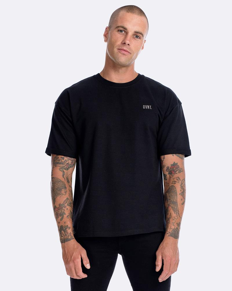 OFF-SHOULDER PINNED SHORT SLEEVE CREW - BLK