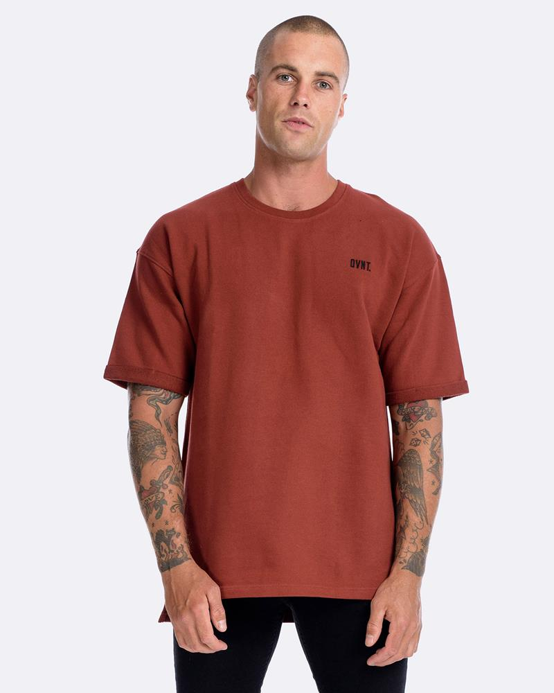 OFF-SHOULDER PINNED SHORT SLEEVE CREW - RUST