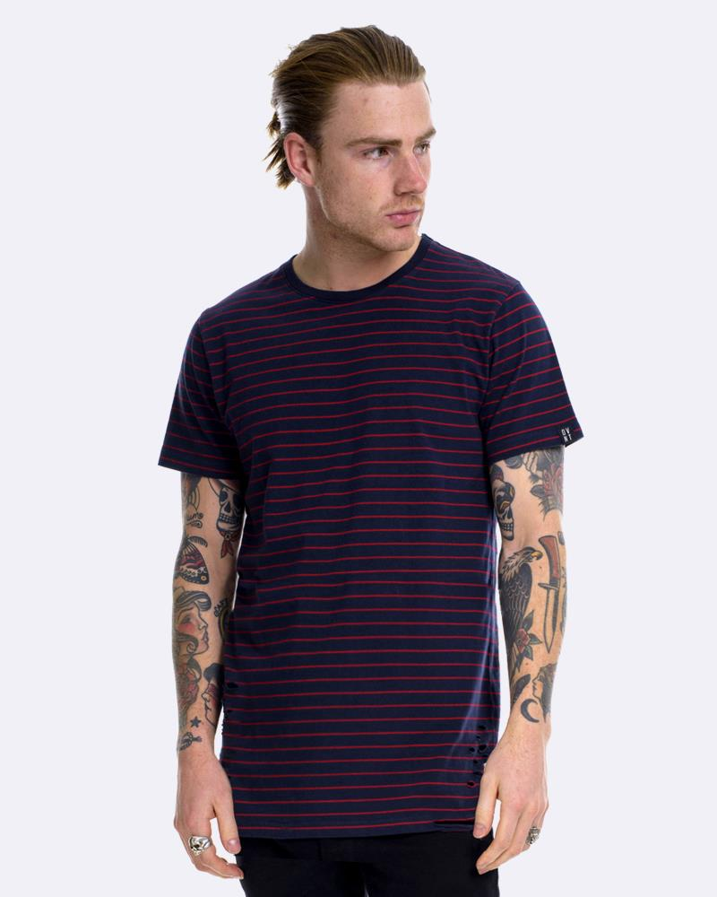BPM DISTRESSED STRIPE TEE