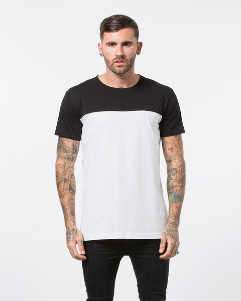 CONTRAST TEE - BLACK/WHITE