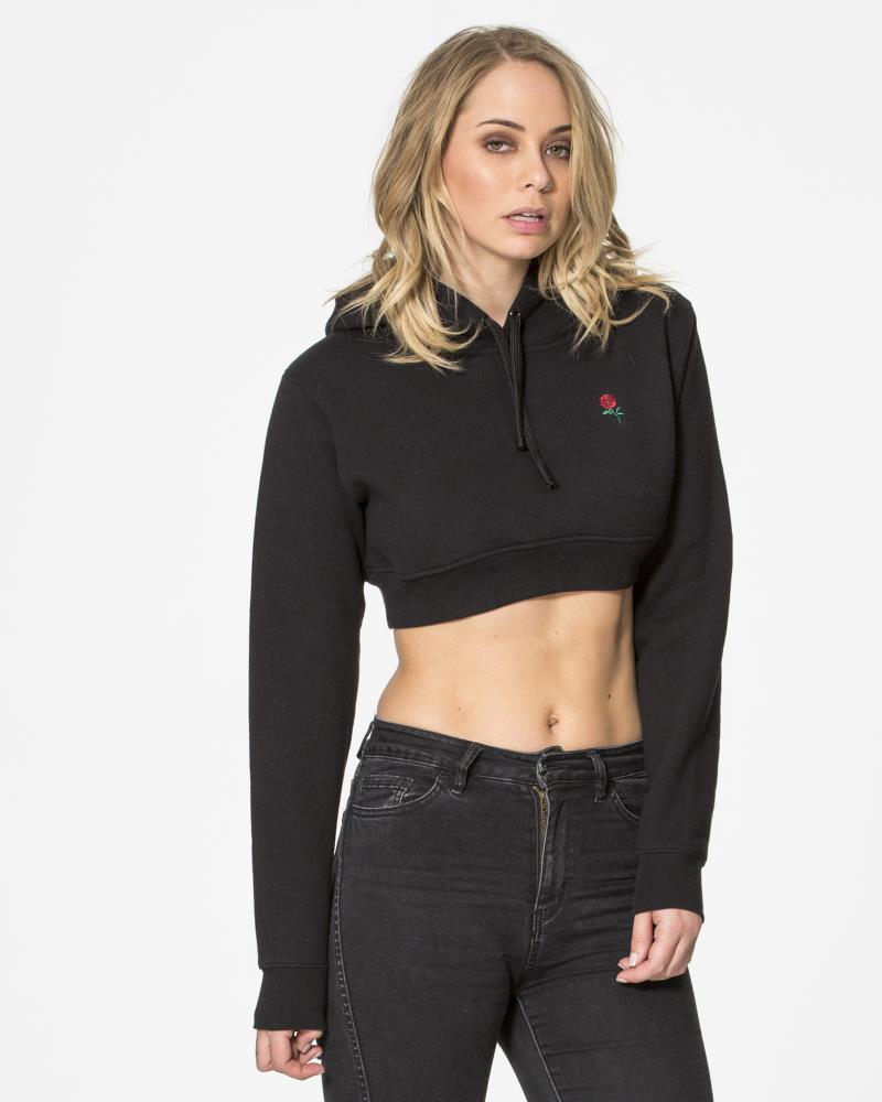 AUTUMN ROSE CROP HOODIE - BLACK