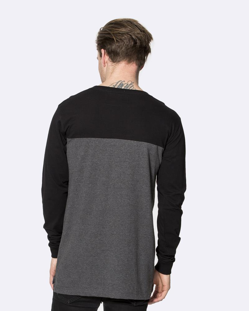 TWO TONE LONG SLEEVE TEE - GREY/BLACK