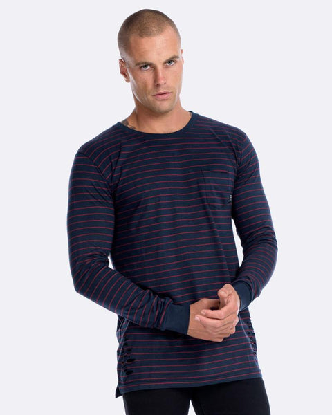 BPM DISTRESSED STRIPE LONG SLEEVE TEE