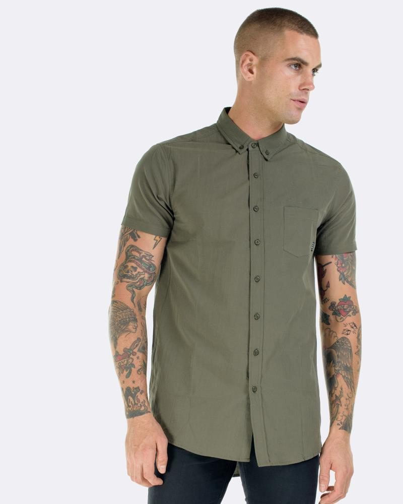 OLIVE SHORT SLEEVE DRESS SHIRT
