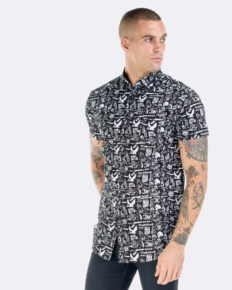 TATTOO DRESS SHIRT - BLACK