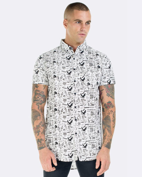 TATTOO DRESS SHIRT - WHITE