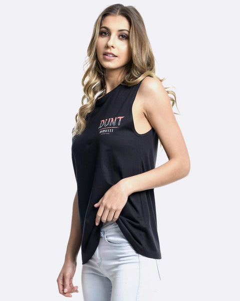 WOMENS ROSE UP TANK - BLACK