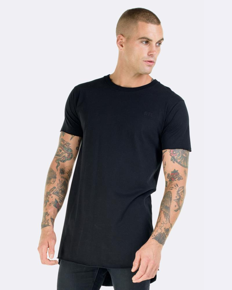 RAW HEM DROP TEE - BLACK