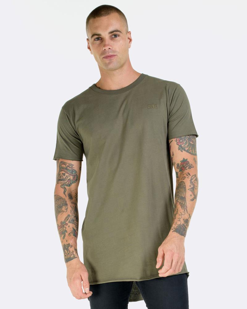 RAW HEM DROP TEE - OLIVE