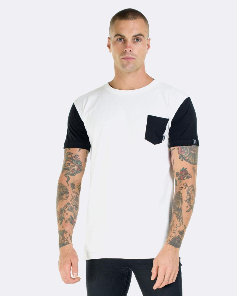 CONTRAST POCKET TEE - WHITE