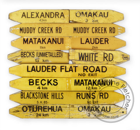 Charcoal Framed - Road Signs, Manuherikia, Central Otago