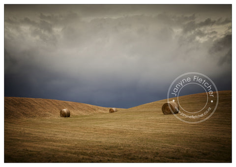 Framed Photographic Print - Hay Bales Channel Road