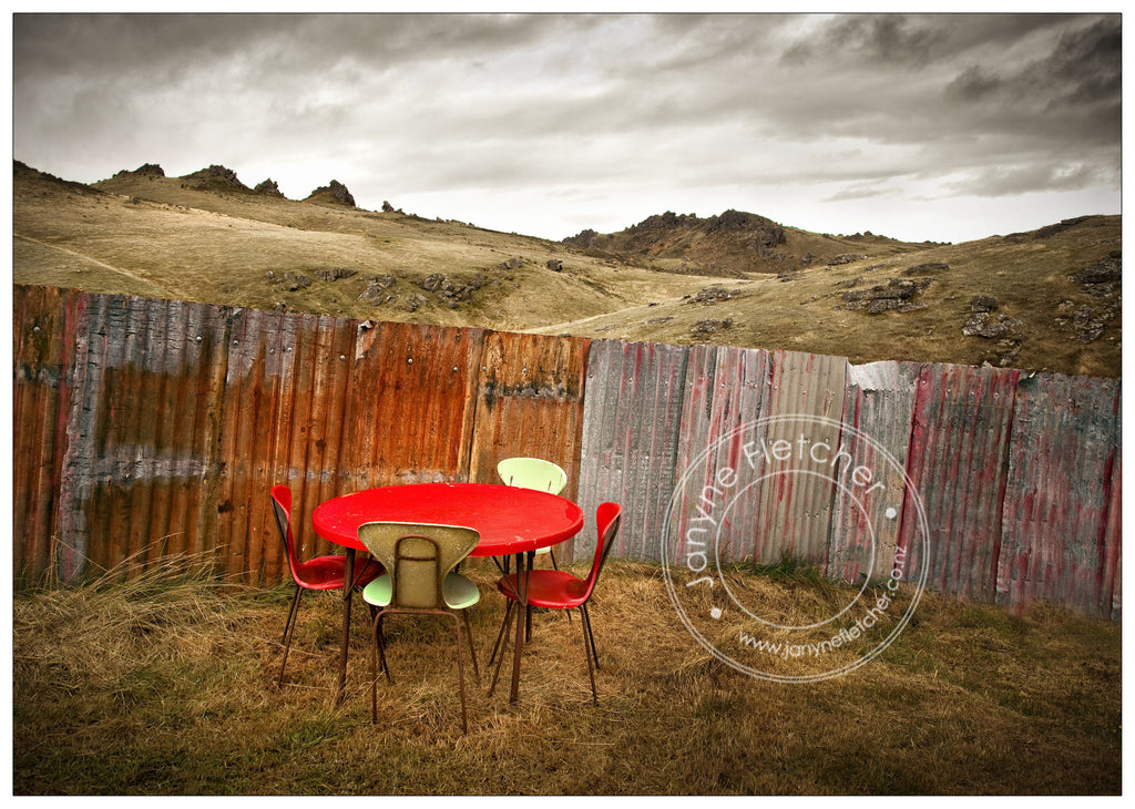 Table and Chairs and Manorburn Dam, Central Otago, New Zealand