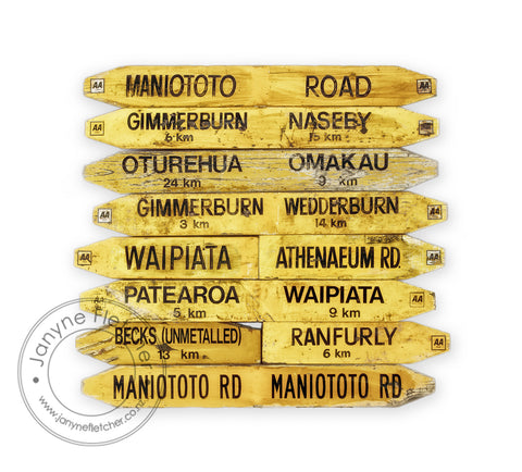 Framed Photographic Print - Road Signs, Maniototo, Central Otago