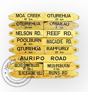 Unframed Print - Road Signs, Ida Valley, Central Otago