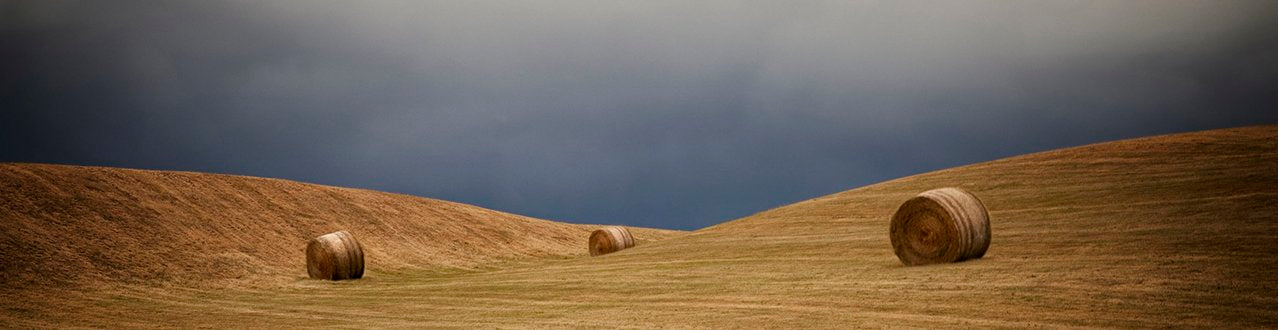 Framed Fine Art Photographic Print, Hut, Hay Bales, Channel Road, Central Otago, New Zealand