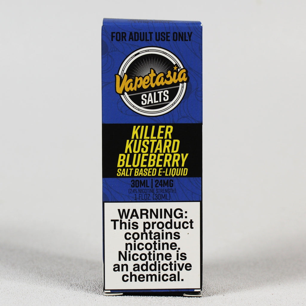 Vapetasia Killer Kustard BLUEBERRY, 24 or 48 mg SALT nic, 30 mL Bottle