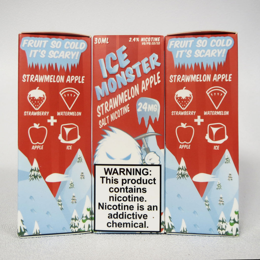 Ice Monster, Strawmelon Apple, 30 mL Bottle, 24mg or 48mg Salt Nicotine