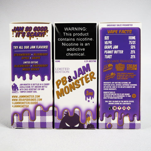 Jam Monster, PB&J & Grape, 100 mL Bottle