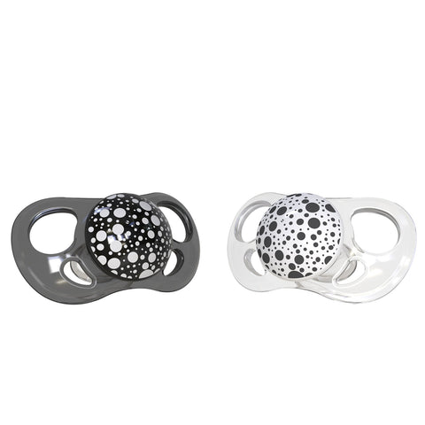 2x Pacifier Black White 6+m