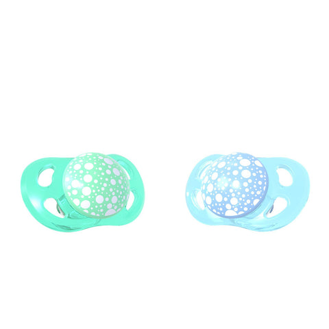 2x Pacifier Pastel Blue Green 0-6m