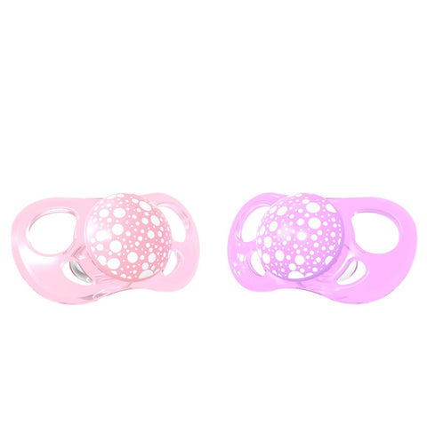 2x Pacifier Pastel Pink Purple  6+m