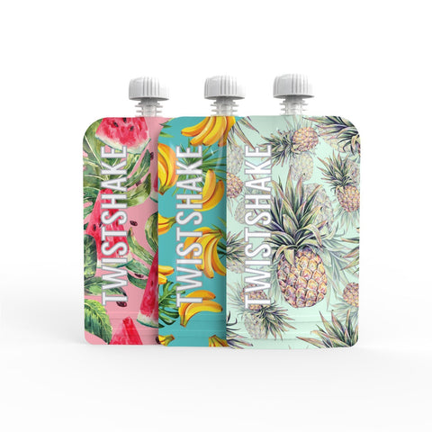 3x Squeeze Bag 220ml Fruit