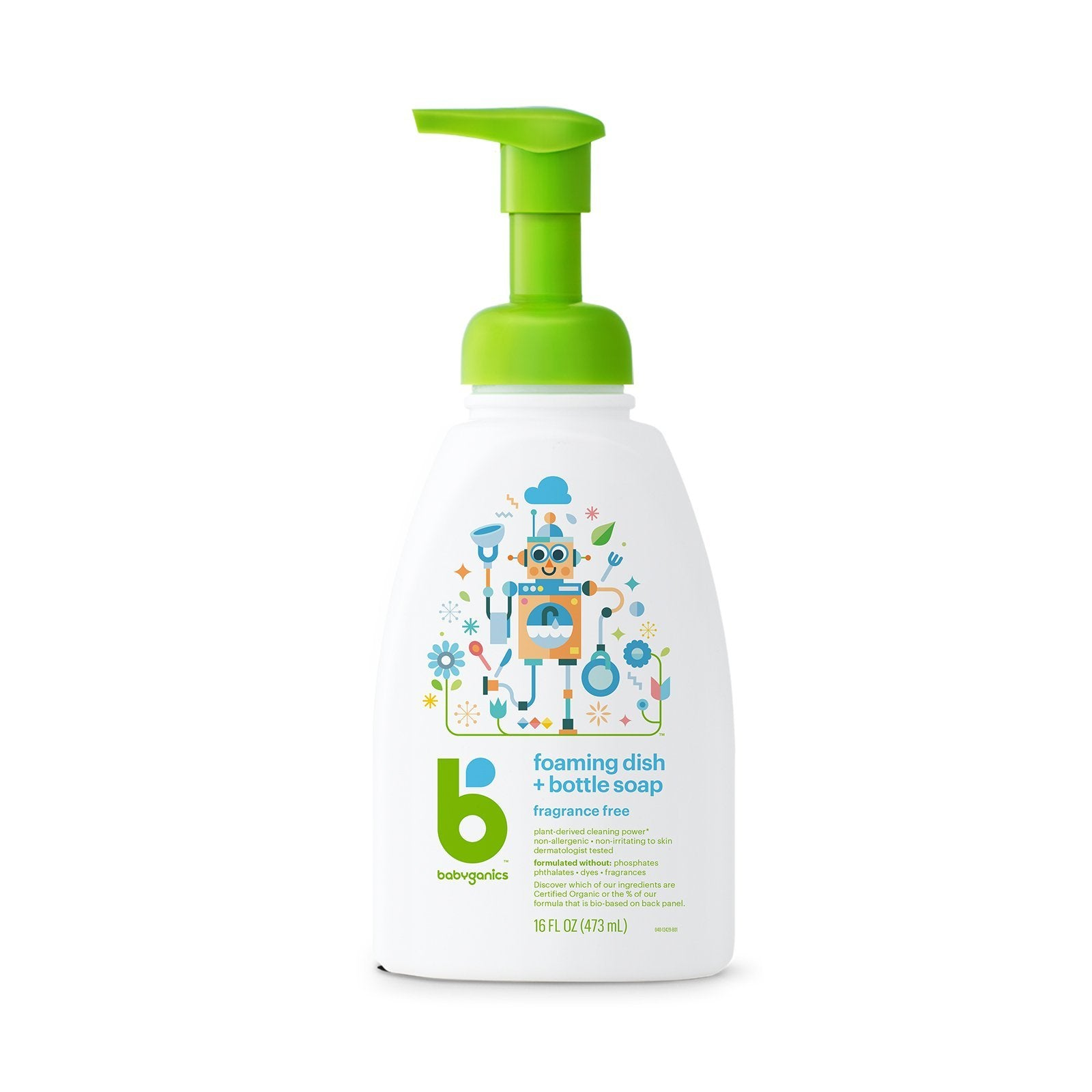 babyganics foaming dish & bottle soap, 473ml, fragrance free