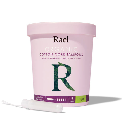 Rael Super Organic Cotton Tampons with Plant-based Compact Applicator 18s