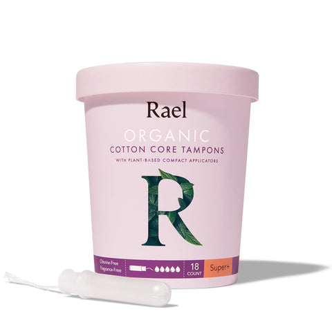 Rael Super Plus Organic Cotton Tampons with Plant-based Compact Applicator 18s
