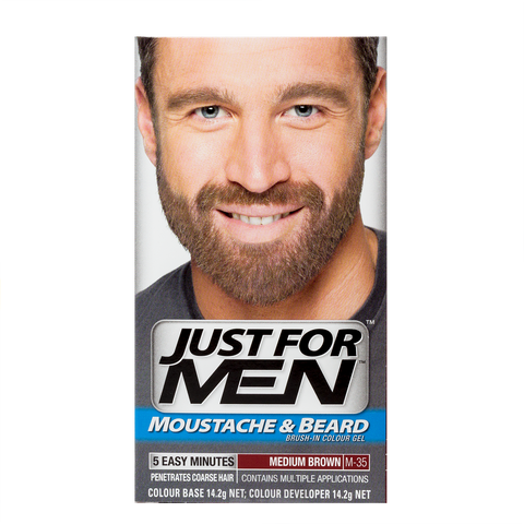 Just For Men Brush-In Color Gel For Moustache & Beard <br> Medium Brown