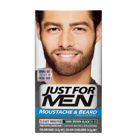 Just For Men Brush-In Color Gel For Moustache & Beard <br> Dark Brown Black