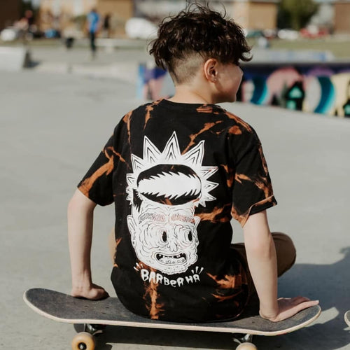 Barber Ha x Hamburger Hands Bleach dye T-Shirt - Barber Ha