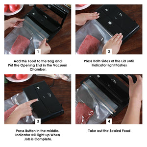 Vacuum Sealer, Joly Joy 2 IN 1 Vacuum Sealing System with Cutter, Automatic Vacuum Food Sealer for Food Savers with 10 Pcs BPA Free Vacuum Bags.