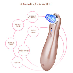 Blackhead Remover Electric Vacuum Suction Machine with Light Therapy