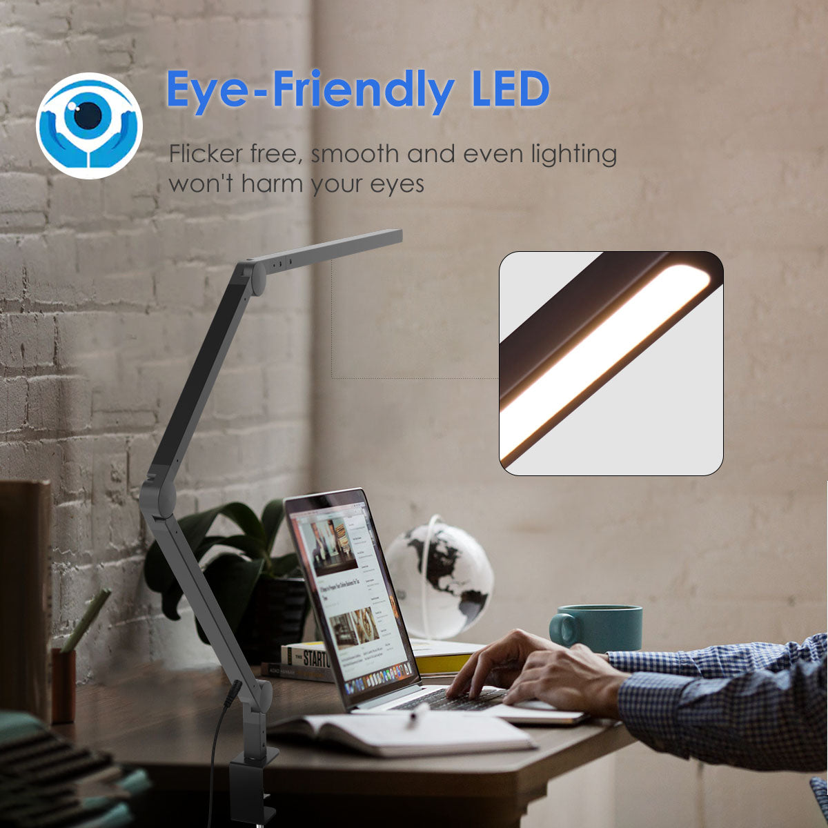 Image of: Modern Architect Swing Arm Led Desk Lamp With Clamp Eye Care Dimming Joly Joy