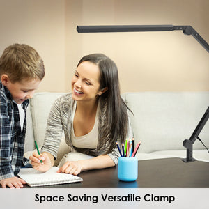 LED Desk Lamp with Clamp & Adjustable Long Swing Arms, Modern Architect Table Lamp 9W Eye-Care Task Lamp w/Timer & Dimming & 6 Color Modes