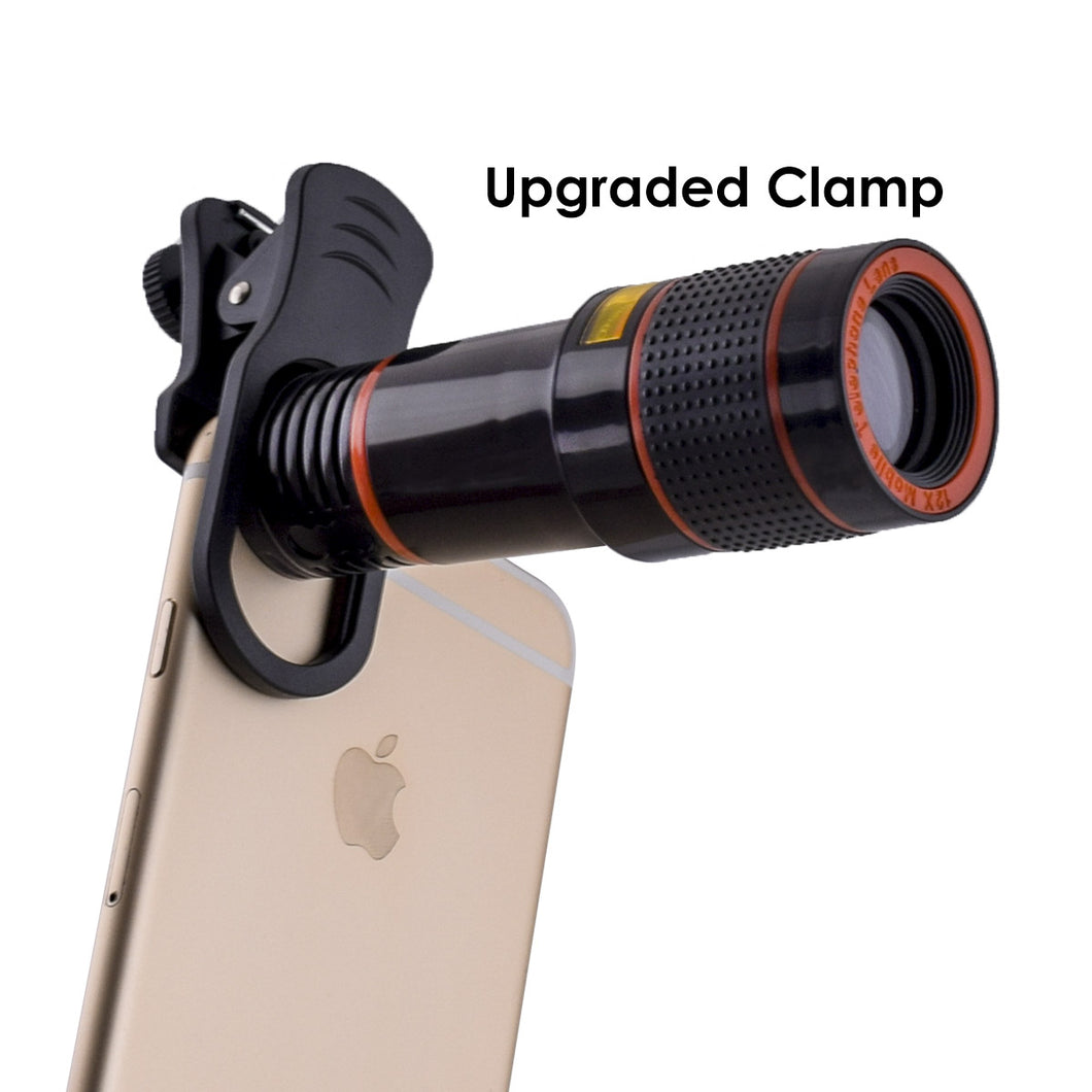 Phone Telephoto Lens Kit 12X, JolyJoy Mobile Camera Monocular Telescope With UPGRADED Premium Clamp