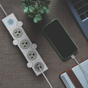 JolyJoy Flexible Power Strip Surge Protector with USB, Multi Pivot Outlet With Rotating Plug, 5ft Long Electrical Extension Cord (White)