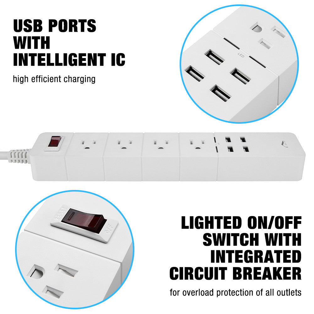 Joly Joy 4-Outlet 4 USB Ports Power Strip, Surge Protector with Power Socket and 6.23ft/1.9M Power Cord 1875W for Computers, Smartphones, Tablets...