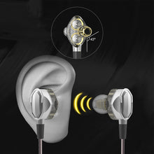 Stereo In-ear Earphones with Dual Dynamic Drivers,Sports Heavy Bass Noise-isolating Headphones, In-line Mic Control Compatible with iPhone, Android