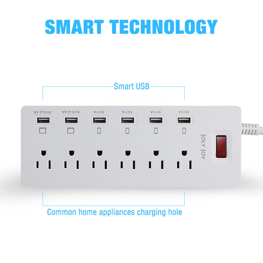 Joly Joy 6-Outlet 6 USB Ports Power Strip 1700 Joules Surge Protector with Power Socket and 6ft/1.8M Power Cord 1625W for Computers Smartphones Tablets and more