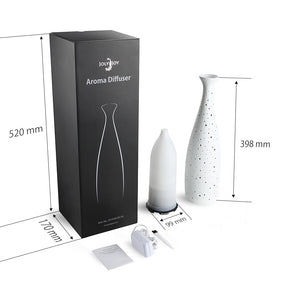 Essential Oil Diffuser, Joly Joy® UPGRADED Ultrasonic Aroma Diffuser with Elegant Ceramic Vase Shape & LED Night Light