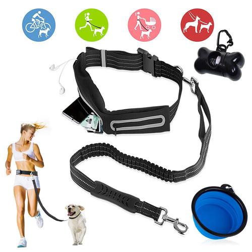Hands Free Dog Leash with Adjustable Waist Bag, Bungee Leash for Dogs up to 150lbs